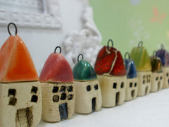 Miniature house pendant in a color of your choice - Ceramics By Orly  - 6