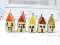 Miniature house pendant in a color of your choice - Ceramics By Orly  - 5