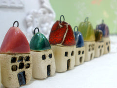 Miniature house pendant in a color of your choice - Ceramics By Orly  - 4