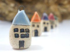 Miniature house pendant in a color of your choice - Ceramics By Orly  - 3