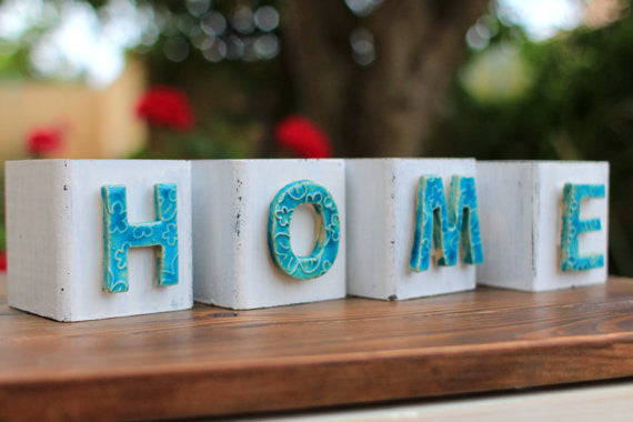 Handmade wooden letter blocks HOME wooden blocks
