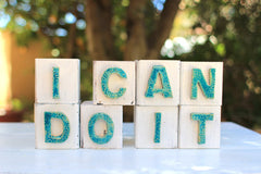 Handmade wooden letter blocks Motivational gift I can do it wooden blocks - Ceramics By Orly  - 1
