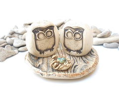 Owls wedding cake topper - Ceramics By Orly  - 1