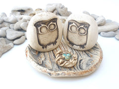 Owls wedding cake topper - Ceramics By Orly  - 3