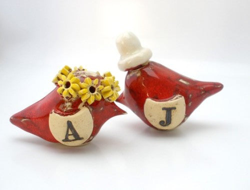 Wedding cake topper OOAK custom pair of love birds with your initials for your special day - Ceramics By Orly  - 1