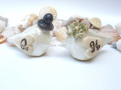 Personalized rustic wedding cake topper with your initials and your special date - Ceramics By Orly  - 5
