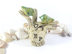 Rustic Tree wedding cake topper love birds on a rustic tree with your initials – monogram cake topper - Ceramics By Orly  - 5