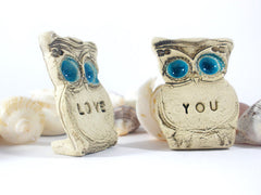 Owls Wedding cake topper - Je t'aime Cute cake topper - Ceramics By Orly  - 3