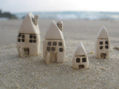 A set of tiny ceramic rustic beach cottage - miniature houses Home decoration Collection Little houses Miniature sculpture - Ceramics By Orly  - 5