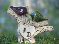 Rustic Tree wedding cake topper love birds on a rustic tree with your initials – monogram cake topper - Ceramics By Orly  - 3