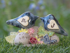 Personalized rustic wedding cake topper with your initials and your special date - Ceramics By Orly  - 6