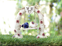 Swing wedding cake topper A pair of ceramic love birds swings under their love tree - Ceramics By Orly  - 9