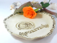Forever – ceramic rustic stone look owls dish - Ceramics By Orly  - 1