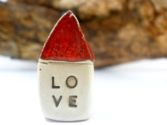 Red Love house Miniature houses Holiday gift - Ceramics By Orly  - 4