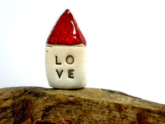 Red Love house Miniature houses Holiday gift - Ceramics By Orly  - 1
