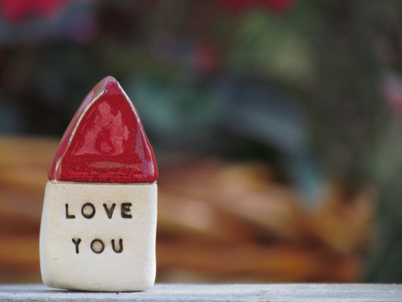 Love you house - Message houses Miniature houses Little rustic houses Red house Valentine gift, Wedding reception - Ceramics By Orly  - 1
