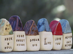 Anniversary gift Message houses Miniature houses Personalized gift - Ceramics By Orly  - 4