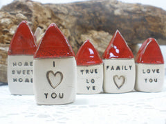 Anniversary gift Message houses Miniature houses Personalized gift - Ceramics By Orly  - 3