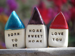 Anniversary gift Message houses Miniature houses Personalized gift - Ceramics By Orly  - 2