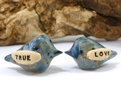 True Love Wedding cake topper Love birds cake topper Anniversary gift Chic wedding Engagement gift - Ceramics By Orly  - 5