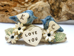 True love woodland wedding cake topper Love birds cake topper Tree cake topper Personalized love birds - Ceramics By Orly  - 5