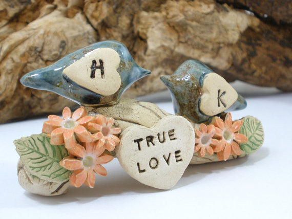 True love woodland wedding cake topper Love birds cake topper Tree cake topper Personalized love birds - Ceramics By Orly  - 1