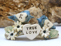 True love woodland wedding cake topper Love birds cake topper Tree cake topper Personalized love birds - Ceramics By Orly  - 4