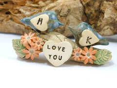 True love woodland wedding cake topper Love birds cake topper Tree cake topper Personalized love birds - Ceramics By Orly  - 2