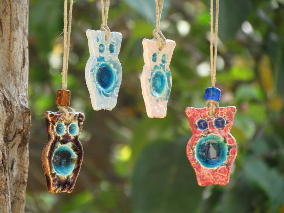 Ceramic ornament Ceramic Owl ornament in a color of your choice Outdoor ornament Indor ornament