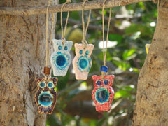 Ceramic ornament Ceramic Owl ornament in a color of your choice Outdoor ornament Indor ornament - Ceramics By Orly  - 4