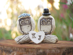 MR & MRS Owls cake topper Rustic bride and groom love birds cake topper - Ceramics By Orly  - 2