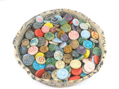 Wedding favor Round cabochon and tiles in variety of colors and designs jewelry accessories mosaic Alerted art Mixed media - Ceramics By Orly  - 5