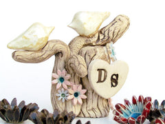 One Love Ceramic Wedding Cake Topper - Love Birds on Tree with Initials - Ceramics By Orly  - 2