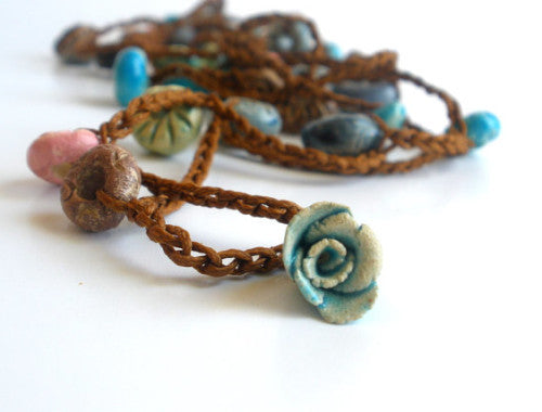 Crocheted ceramic beads bracelet or long necklace - Ceramics By Orly  - 1