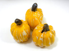 Autumn decor Halloween decoration Ceramic yellow pumpkin set Thanksgiving decor - Ceramics By Orly  - 4