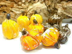 Autumn decor Halloween decoration Ceramic yellow pumpkin set Thanksgiving decor - Ceramics By Orly  - 2
