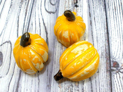Yellow and white ceramic pumpkins - Ceramics By Orly  - 3