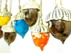 Ceramic acorn ornaments in a color of your choice - Ceramics By Orly  - 3