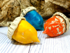 Ceramic acorn ornaments in a color of your choice - Ceramics By Orly  - 1