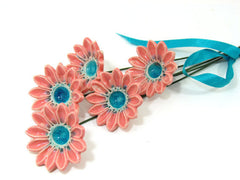 Ceramic flowers in a color of your choice (set of 5) - Ceramics By Orly  - 2