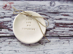 You are my sunshine Wedding ring bearer Ring dish Wedding Ring pillow - Ceramics By Orly  - 5