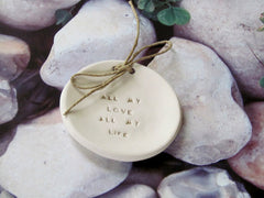 Wedding ring dish All my love All my life - Ceramics By Orly  - 3