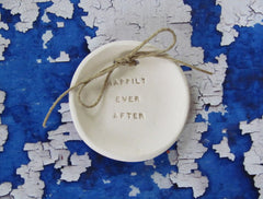 Happily ever after Wedding ring bearer Ring dish Wedding Ring pillow - Ceramics By Orly  - 1