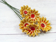 Ceramic flowers in a color of your choice (set of 5) - Ceramics By Orly  - 6
