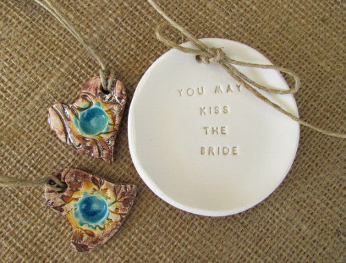 You may kiss the bride Wedding ring bearer Ring dish Wedding Ring pillow - Ceramics By Orly  - 1