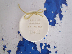 Personalized wedding ring bearer You & me married by the sea Ring dish Wedding Ring pillow - Ceramics By Orly  - 5
