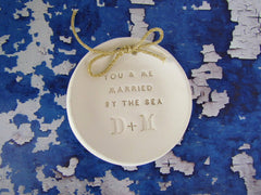 Personalized wedding ring bearer You & me married by the sea Ring dish Wedding Ring pillow - Ceramics By Orly  - 3