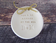 Personalized wedding ring bearer You & me married by the sea Ring dish Wedding Ring pillow - Ceramics By Orly  - 1