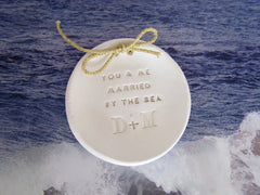 Personalized wedding ring bearer You & me married by the sea Ring dish Wedding Ring pillow - Ceramics By Orly  - 2