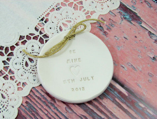 Be Mine Personalized wedding ring bearer Ring dish Wedding Ring pillow - Ceramics By Orly  - 1